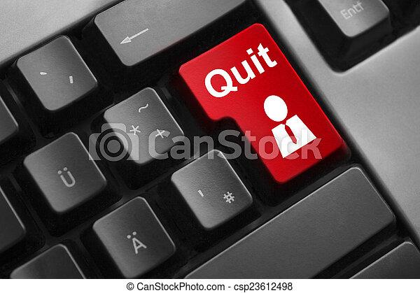 dark grey keyboard red button quit job - csp23612498