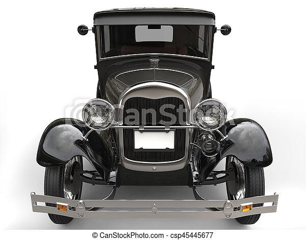 Dark Grey Vintage Car Front View Closeup Shot