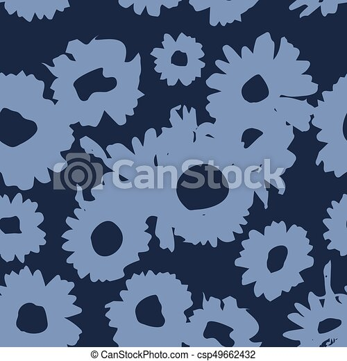 Dark Indigo pattern with daisies. Millefleurs liberty style. Ditsy floral pattern for printing on fabric,  women's clothes - csp49662432