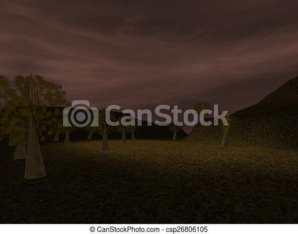 Dark landscape - csp26806105