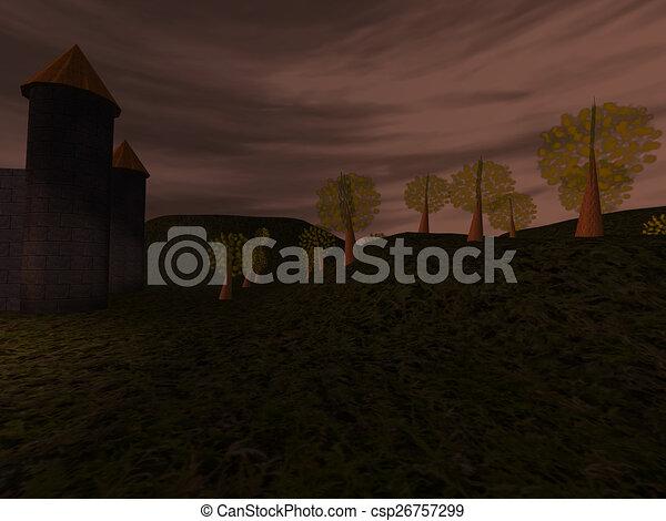 Dark landscape with castle - csp26757299