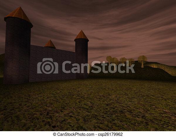 Dark landscape with castle - csp26179962