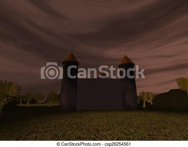 Dark landscape with castle - csp26254561