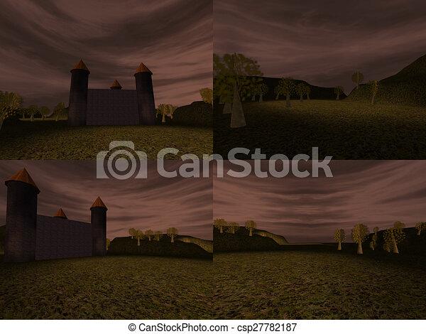 Dark landscape with castle - csp27782187