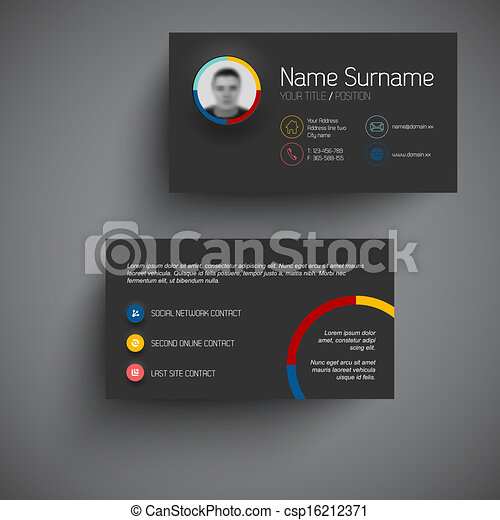 Dark modern business card template with flat user interface dark dark modern business card template with flat user interface csp16212371 cheaphphosting Image collections