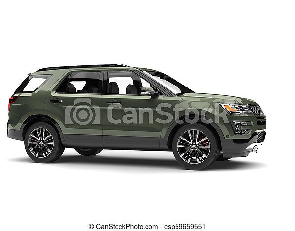Dark mossy green metallic modern SUV - side view - csp59659551