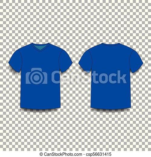 af9abdf4 Dark navy blue, men's t-shirt template v-neck front and back side views.  vector of male t-shirt wearing illustration isolated on transparent  background.