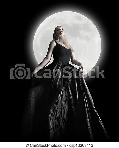 Dark Night Moon Girl with Black Dress - csp13303413