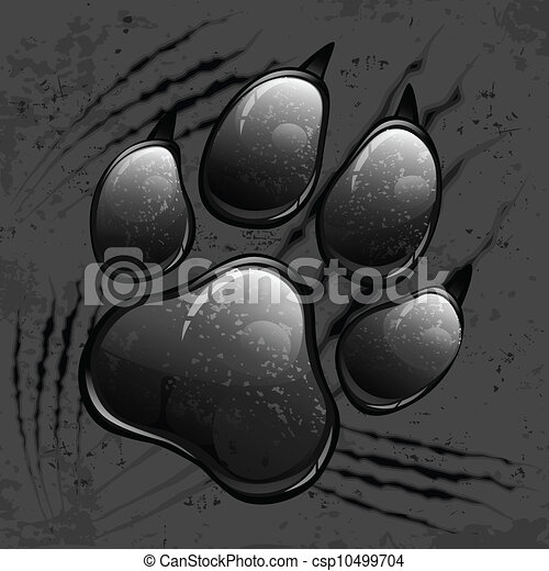Dark paw print and scratches - csp10499704