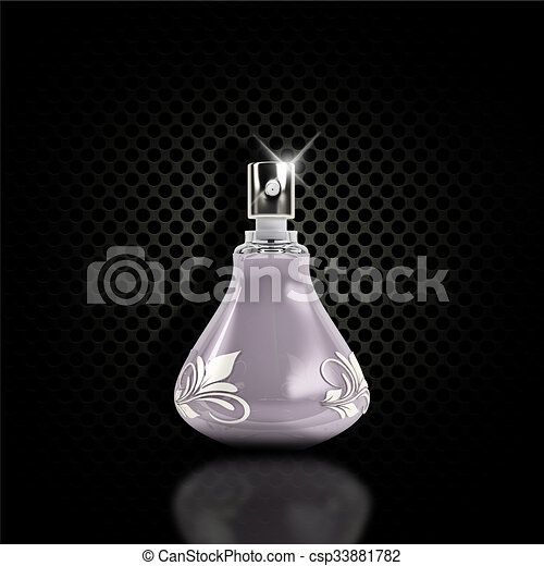 Dark perforated metal background with 3D perfume bottle - csp33881782