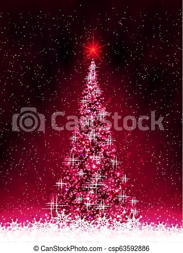 Dark pink card with shiny Christmas tree silhouettes of ribbons and white snowflakes. - csp63592886