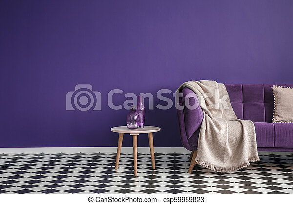 Sensational Dark Purple Sofa With A Blanket Beside A Small Table With Bottles Standing On Black And White Checkerboard Floor In A Minimalistic Living Room Squirreltailoven Fun Painted Chair Ideas Images Squirreltailovenorg