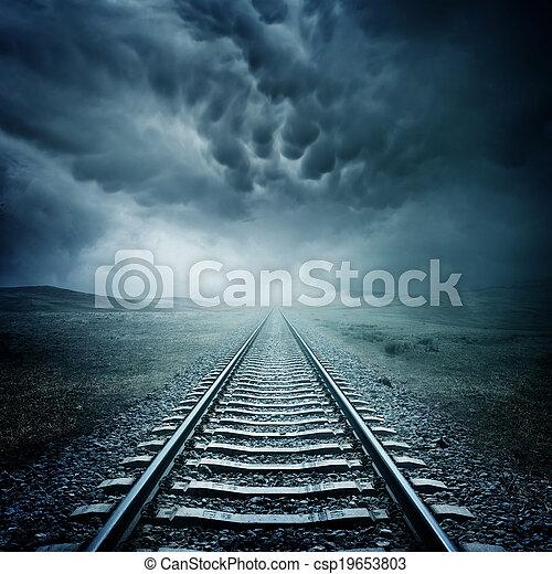 Dark Railway Track - csp19653803