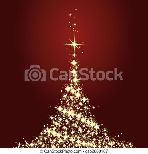 Dark red Christmas card with shining golden Christmas tree - csp2680167
