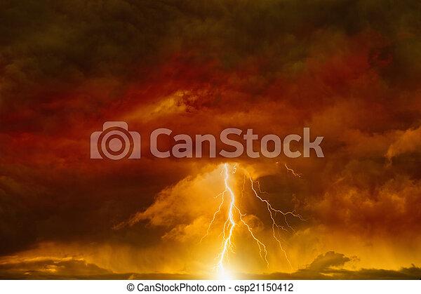 Dark red sky with lightning - csp21150412