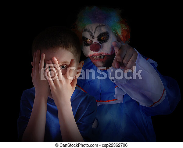 Dark Scary Clown Looking at Little Child - csp22362706