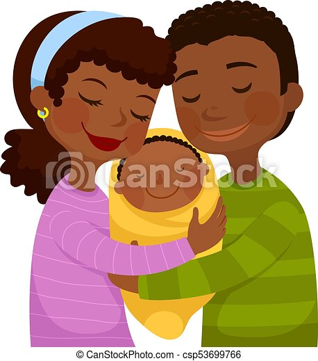 Dark skinned parents with a baby - csp53699766