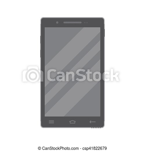 Dark smartphone in flat style isolated on a white background. - csp41822679