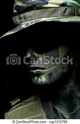 Dark soldier portrait - csp1315790
