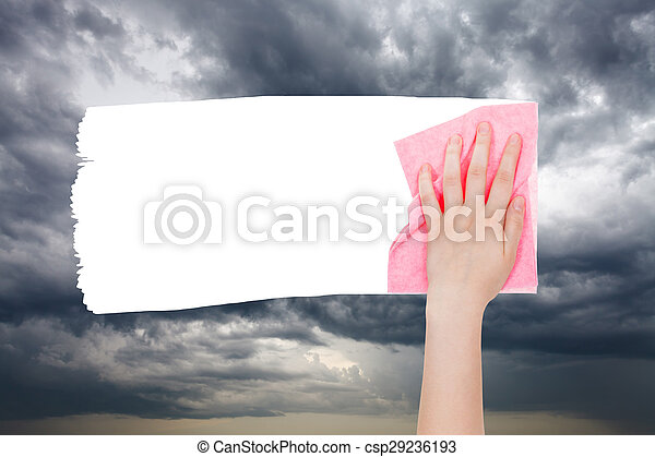 dark storm clouds in the spring sky - csp29236193