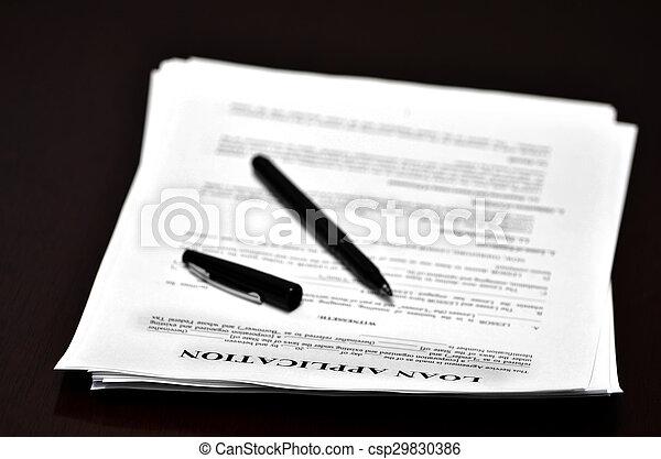 Darlehen, buero, abkommen, dokument, stift. Stift,... Bilder ...