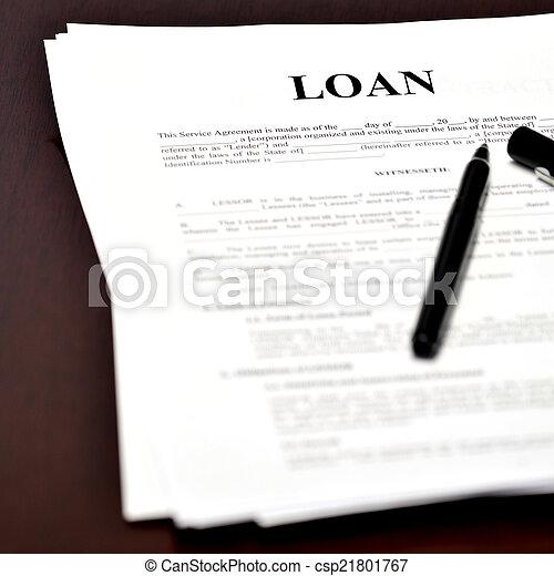 Darlehen, buero, abkommen, dokument, stift. Stift, unterzeichnendes ...