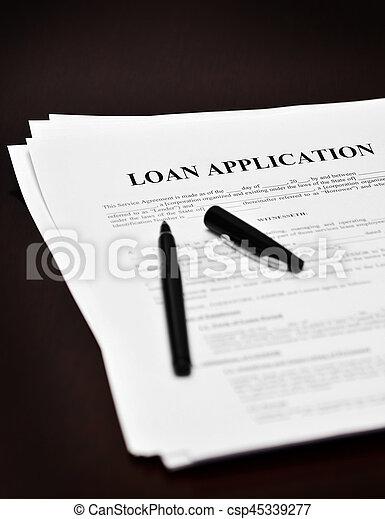 Darlehen, vertrag, stift, schwarzer schreibtisch, dokument,... Bild ...