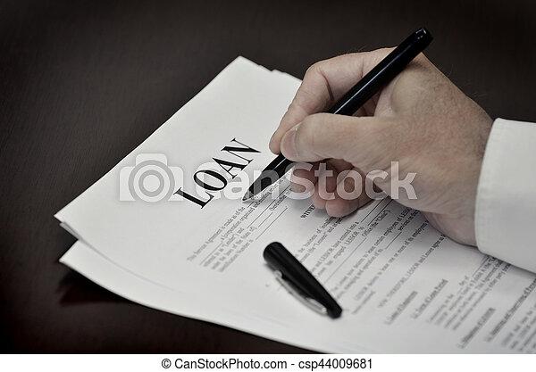 Darlehen, vertrag, stift, schwarzer schreibtisch, dokument ...