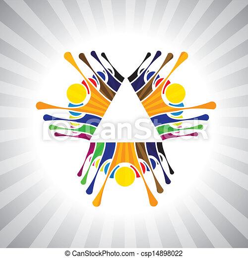darstellen, einfache , graphic., together-, kinder, leute, stimmung, &, auch, gemeinschaftsarbeit, angestellter, demonstration, abbildung, kinder, dieser, leute, haben, vektor, spielende , buechse, mannschaft, spaß, oder - csp14898022