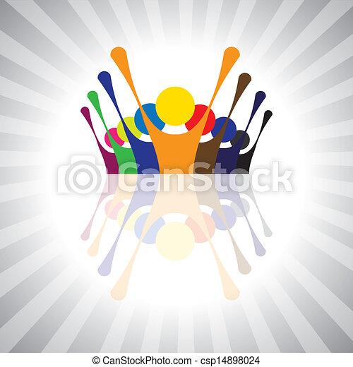 darstellen, einfache , graphic., protest, together-, kinder, leute, stimmung, gewerkschaft, auch, angestellter, demonstration, abbildung, kinder, dieser, leute, oder, vektor, spielende , buechse, spaß, haben - csp14898024