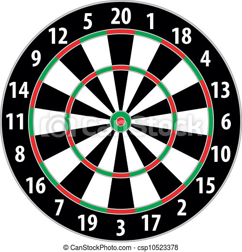 Illustration Of A Dart Board Isolated On White Background