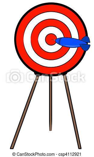 dart hitting bullseye on target on a stand - csp4112921
