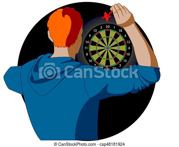 dart player, male, aiming dart at dart board - csp48181924