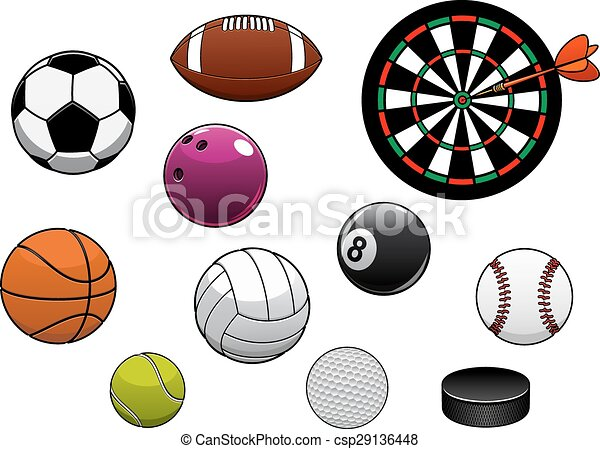 Dartboard, hockey puck and sports balls - csp29136448