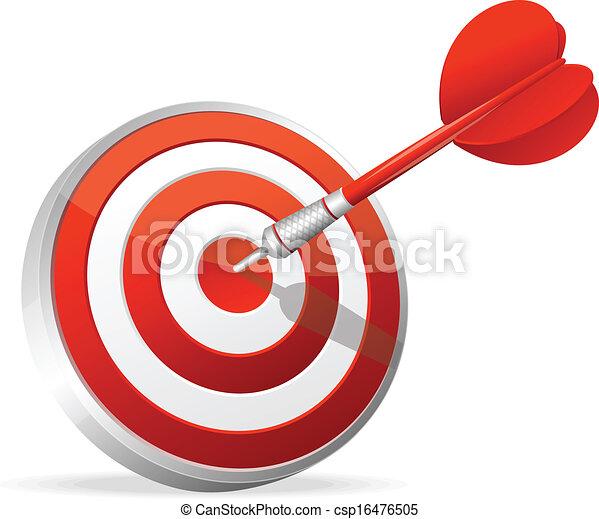 Dartboard with dart. Hitting A Target - csp16476505