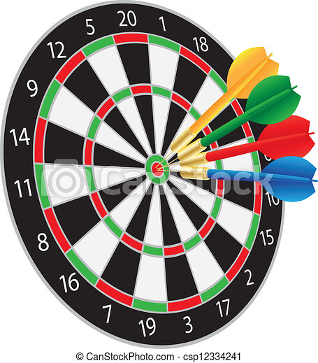 Dartboard with Darts Hitting the Bullseye - csp12334241