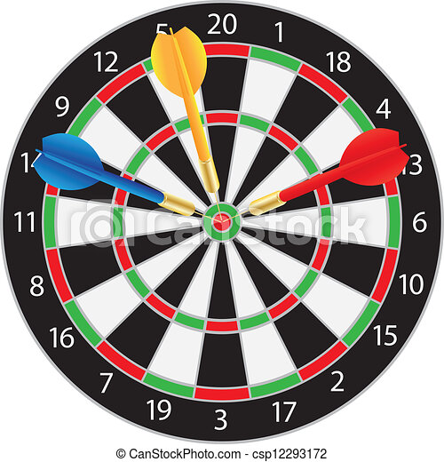 Dartboard with Darts Illustration - csp12293172