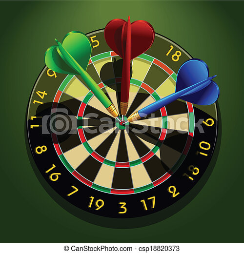 Dartboard with darts in the center concept business acumen ...