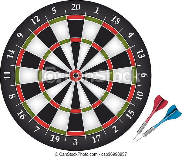 Dartboard with two darts - csp36998957