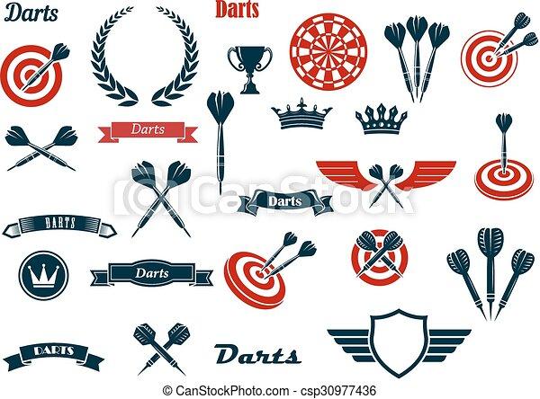 Darts game ditems and heraldic elements - csp30977436