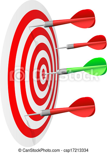 Dart's hit the bull's eye isolated on white background. - csp17213334