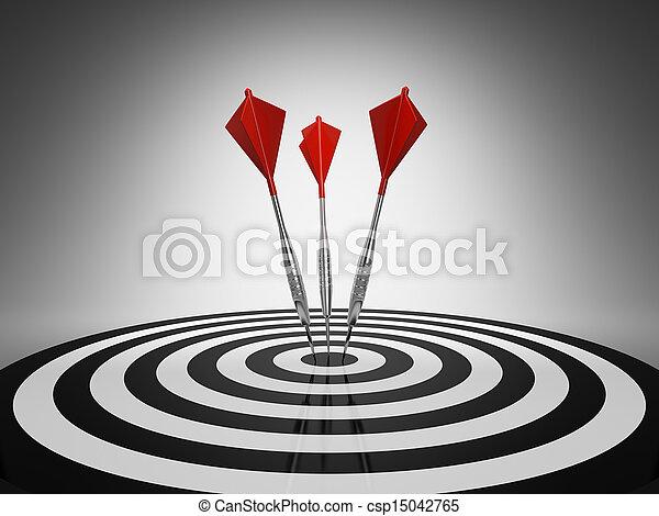 Darts hitting a target - csp15042765
