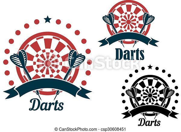 Darts Icons With Arrows And Dartboard Darts Game Icons Of Arrows