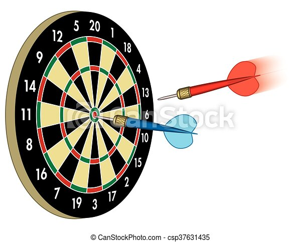 darts in motion to board - csp37631435