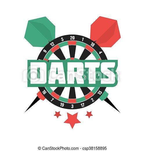 Darts label. Badge Logo. Darts sporting symbols. - csp38158895