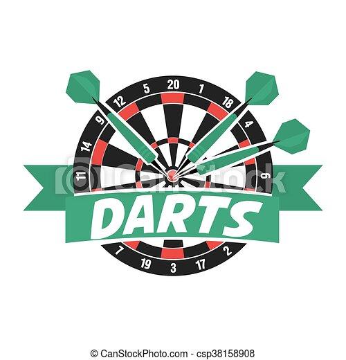 Darts label. Badge Logo. Darts sporting symbols. - csp38158908