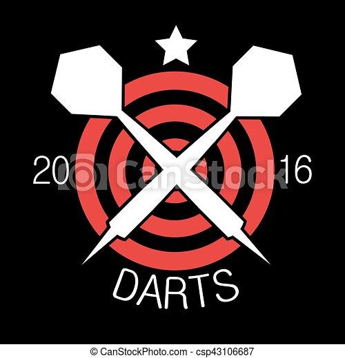 Darts label. Badge Logo sporting symbols - csp43106687