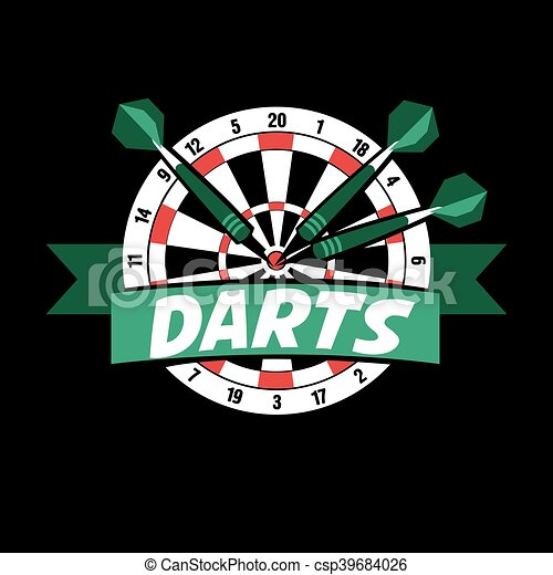 Darts label. Badge Logo sporting symbols - csp39684026