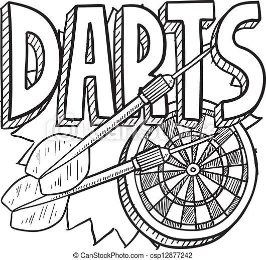 Darts sketch - csp12877242