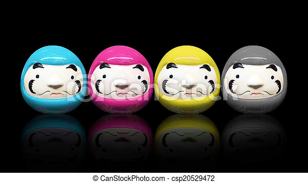 daruma doll in CMYK color concept in black isolate background - csp20529472